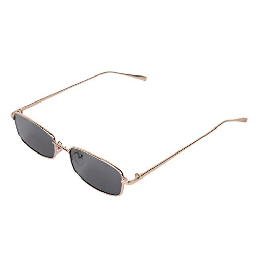 ZOOMY Thin Rectangle Sunglasses Donna Metal Small Square Uomo Occhiali da Sole UV400 - A