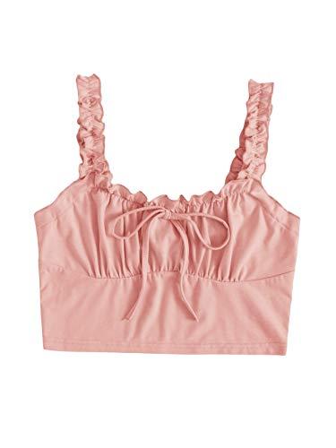 Verdusa Women's Frill Trim Strap Tie Knot Ruched Front Bustier Crop Top Peach S