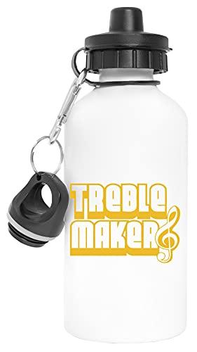 Treble Clef Maker Aluminio Reutilizable Deporte Viaje Botella de Agua Blanco Aluminium Reusable Sport Travel Water Bottle White