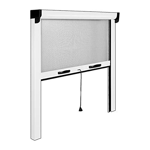 Zanzariera a Rullo in Alluminio per finestre con Profilo riducibile/Regolabile avvolgimento Verticale con Frizione 140x170cm Bianca