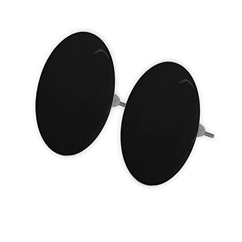 Soul-Cats® Ein Paar süße Ohrstecker aus Acryl, mit Pin aus Edelstahl, rund - 2,5 cm, Schwarz