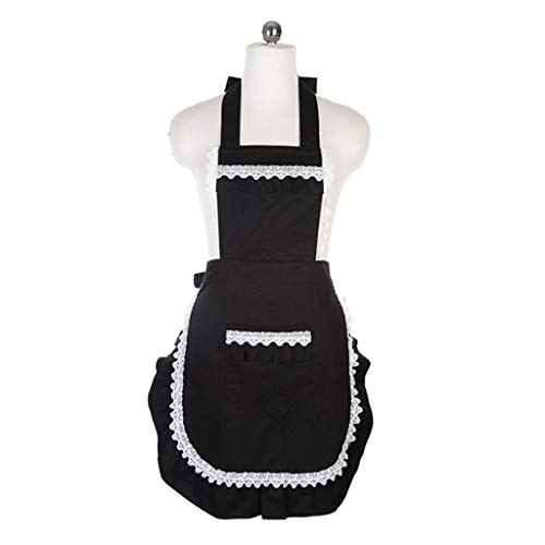 Leuke Sweet Retro Frilly schorten Kant voor decoratie Met zak voor Meisje Vrouwen Keuken Koken Schoonmaak Maid Kostuum met Pocket (Zwart)