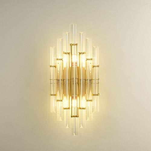 MGWA Lámpara de pared dorada simple moderna creativa de diamante para sala de estar de lujo retro dormitorio pasillo lámpara de pared 220 * 480 (mm)