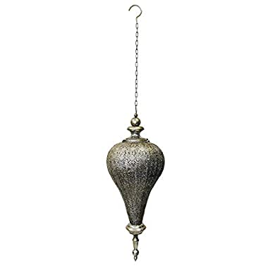 PierSurplus Antique Silver Oriental Moroccan Metal Hanging Pendant Light Candle Lantern Indoor Outdoor - Large Product SKU: CL221835