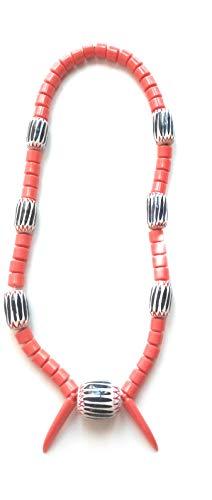 Authentic African Traditional Necklace, Handmade Cameroon, Bamenda,Nigerian Necklace, Igbo Necklace, Ngondo Douala Necklace (Orange n Blue) (3)