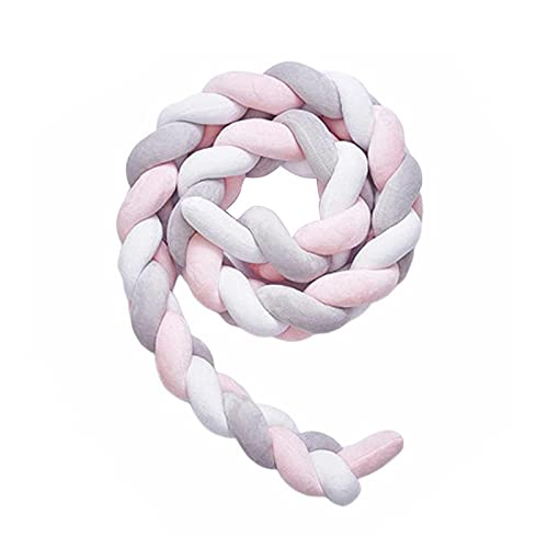 Ymxcwer85851 200cm Tres Hilos Cortina de Cama Niños Almohada de Tejer Cerca de Cama de Choque para niños (Rosa + Gris + Blanco) 200cm