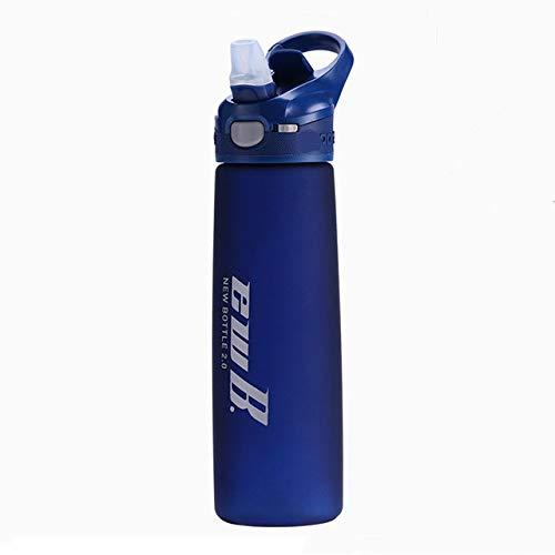 Botella de Agua de Paja de Material tritan portátil de 750 ml Botellas de Bebida para Ejercicios de agitador de Deportes al Aire Libre durables sin BPA - Azul