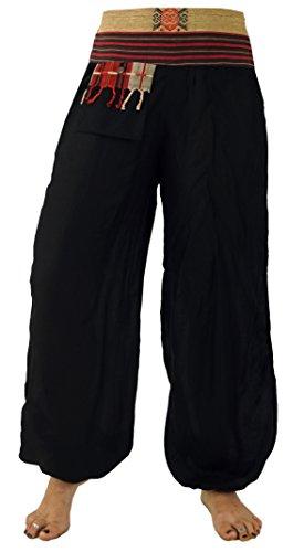 GURU SHOP Muckhose Pluderhose Pumphose Chang, Damen, Schwarz, Synthetisch, Size:38, Pluderhosen & Aladinhosen Alternative Bekleidung