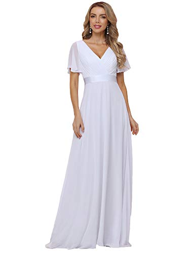 Ever-Pretty Women's V-Neck A-line Long Short Sleeve Chiffon Wedding Party Gowns White US14