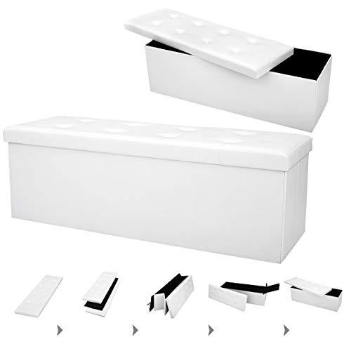 COSTWAY Sitzbank bis 300kg belastbar, Sitzbox Sitzwürfel Bank faltbar, Sitzkasten Polsterhocker Truhe, Sitztruhe PVC-Leder, Aufbewahrungsbox 114 x 38 x 38cm (Weiß) - 4