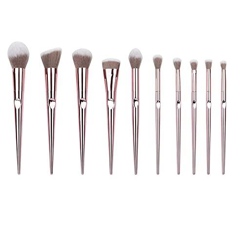Shading 10 brochas de maquillaje básicas de belleza, colorete, sombra de ojos, abanico, labios, pincel cónico