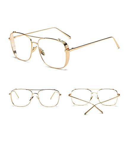 Metal grande cuadrado marco claro lente gafas de metal moda claro lente gafas marco gafas mujeres hombres