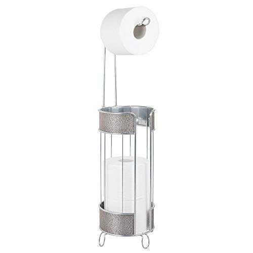 mDesign Portarrollos de pie – Moderno soporte para papel higiénico – Elegante portarrollos para baño con capacidad para 3 rollos de papel – plateado
