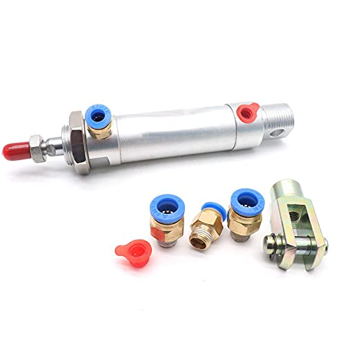 Sydien MAL Series 20mm Bore 25mm Stroke Single Rod Pneumatic Cylinder with Y Connector and 4Pcs Pneumatic Quick Fitting (MAL20X25)