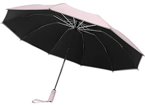 Paraguas Compacto, Paraguas Plegable con Banda Reflectante Paraguas Invertido Portátil Apertura Y Cierre Automático Paraguas A Prueba De Viento para Hombres Y Mujeres,C