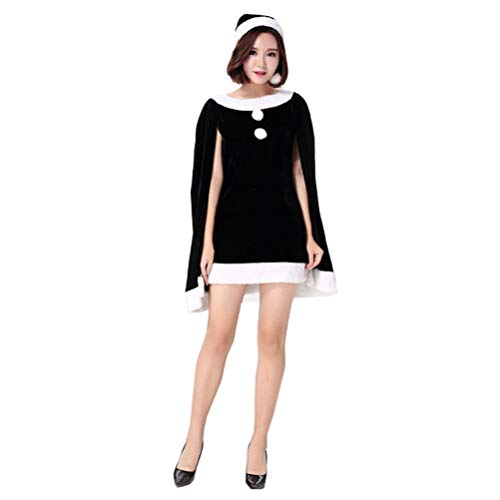 JEELINBORE Frauen Weihnachts Cape Kleider Fancy Dress Süß Xmas Kostüme mit Weihnachtsmütze - Schwarz, Eine Größe