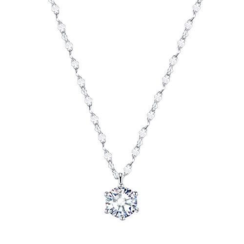 ネックレス レディース 金属アレルギー対応 「唯一の愛」CZダイヤモンド S925 純銀製 ネックレス ペンダント プラチナ 仕上げ レディースアクセサリー ギフトボックス 付き