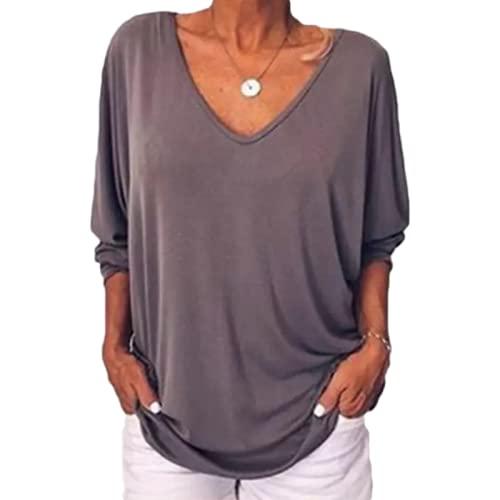 Mujer Cuello en V Pullover Moda Color sólido Simple Diario Ocio Tallas Grandes Camiseta de Manga Tres Cuartos con Botones 5XL
