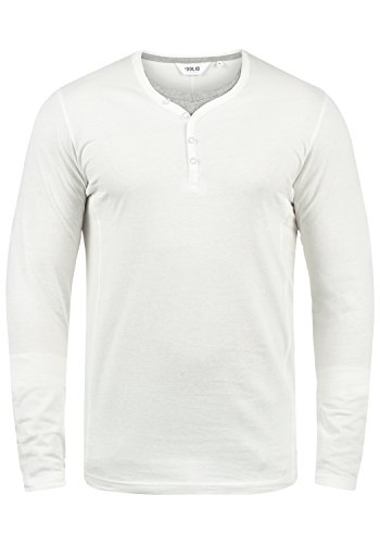 !Solid Doriano Herren Longsleeve Langarmshirt Shirt Mit Grandad-Ausschnitt, Größe:XL, Farbe:Off White (0104)