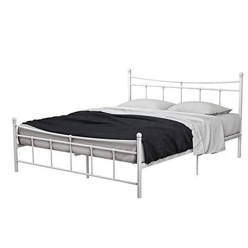 mecor Metallbett 160x200 Bettgestell Bettrahmen mit Lattenrost Gästebett Doppelbett Bettrahmen mit Kopfteil Design, Bett In milchweiß