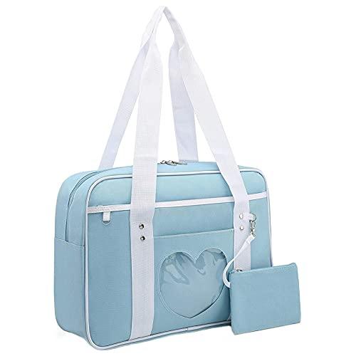 Ita Bag Heart Japanese School Bag,Ita Bag Heart Shape Window Japanese School Handbag,Heart Shape Kawaii Lolita Handbag Shoulder Anime Bag, for Cosplay,Comic Con (Blue)