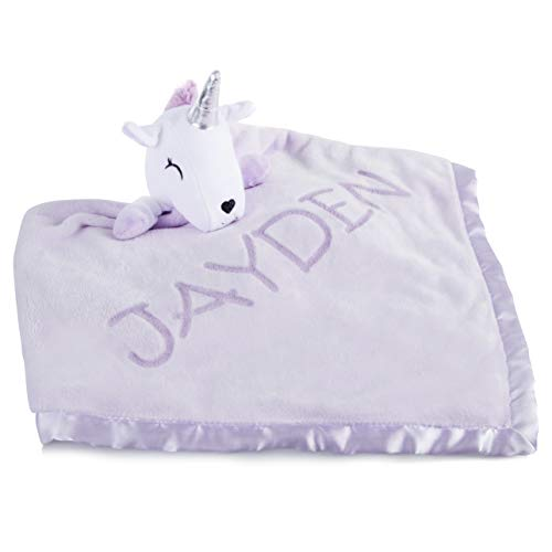 Custom Catch New Baby Gift for Girl - Personalized Blanket with Name - Newborn or Infant, Purple