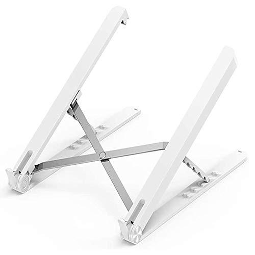 Raxinbang Folding Table White Aluminum Laptop Stand, Folding Height and Angle Adjusted Portable Laptop Tray Desk Ergonomic Design Foldable Laptop Stand Lift Bracket Aluminum Ergonomics Design