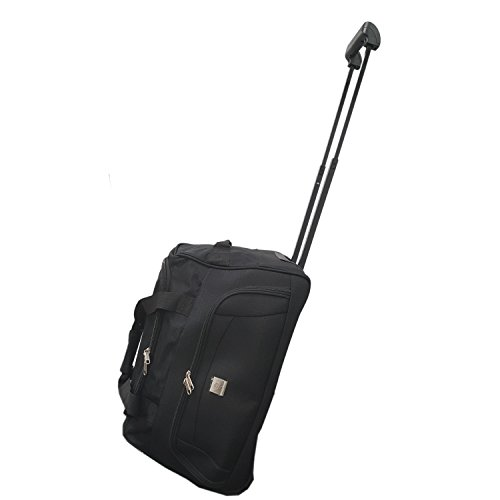 Cabin Size Approved 45L Roller Travel Duffel Wheely Bag Hand Luggage Wheeled Trolley Holdall Duffle Carry Bag with Wheels Lightweight Overnight Telescopic Frame by Bon Goût