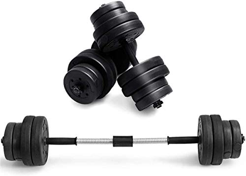 DREAMADE Kit Manubri e Bilanciere, Kit Manubri e Bilanciere Bodybuilding, Set di Manubri e Bilanciere da Fitness, Pesi Allenamento per Palestra e Casa, 8 x 2,5 kg, 8 x 1,25 kg, Nero