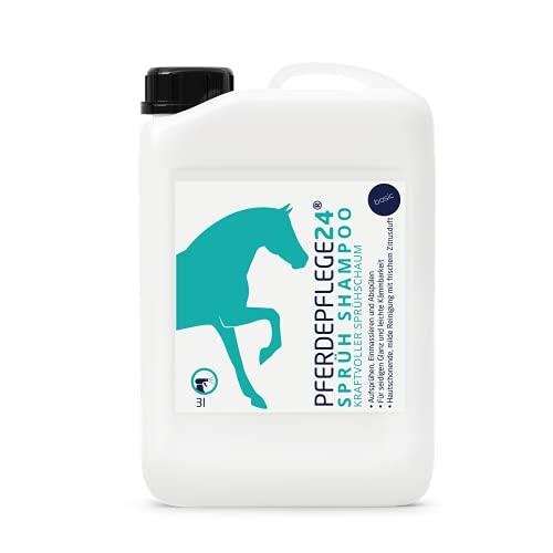 PFERDEPFLEGE24 Mildes Pferdeshampoo als Sprühshampoo - Basis Pferde Shampoo 0,5l, 1l, 3l, 5l & 10l Liter pH Neutral - Seidiger Glanz, leichte Kämmbarkeit & sichtbar gesundes Haar - Pferdepflege