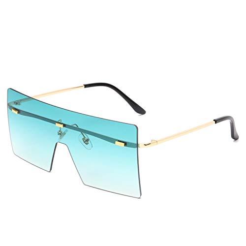 Astemdhj Gafas de Sol Sunglasses Gafas De Sol Cuadradas De Gran Tamaño con Lentes Transparentes Mujeres Hombres Moda De Lujo Gafas Sin Montura con Parte Superior Plana Uv400 TonosAnti-UV