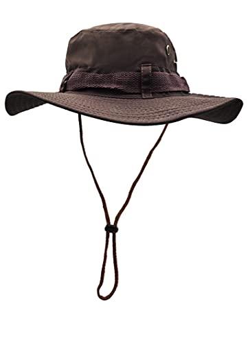 Sombrero del Pescador Plegable para Hombre Mujer, Gorro de Protección Solar UPF 50 de ala Ancha, Sombrero de Pesca Impermeable para Verano, Aires Libre, Caza, Camping Safari (Marrón)