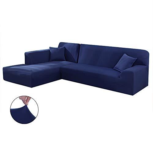 Copridivano con Penisola Elasticizzato Chaise Longue Sofa Cover Componibile in Poliestere a Forma di L è Composto da 2PCS (Blu Navy, 3 Posti+3 Posti)