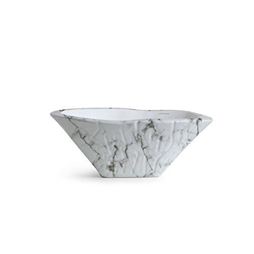 Vasque Lavabo à Poser/Suspendu Ovale Terra Gioia Veiné en céramique - 54x46xh20 cm (avec bassin blanc)