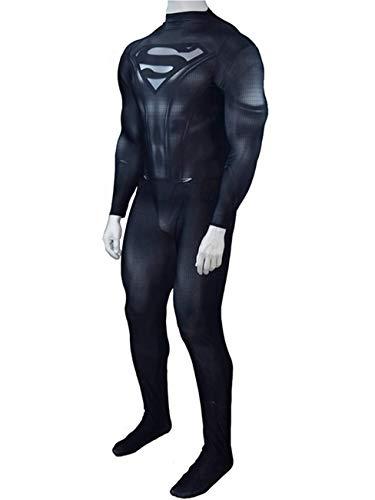 CXYGZLJ Schwarzer Superheld Erwachsener Cosplay Kostüm, Spiderman Cos Bodysuit Elternkind Performance Kleidung Jumpsuits Superman Returns Cos Spielanzug,Blue-Men M