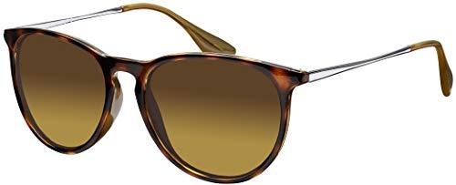 Sonnenbrille La Optica UV 400 Schutz Unisex Damen Herren Vintage Rund - Horn Leopardenmuster Glänzend (Gläser: Braun Verlaufstönung)