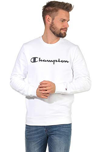 Champion Men Sweatshirt Crewneck Sweatshirt 214744, Color:White (Wht), Talla:XL