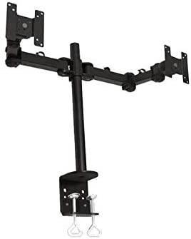 Monmount LCD-194B Dual-Screen Monitor Mount with C-Clamp Desk Mount (Black)