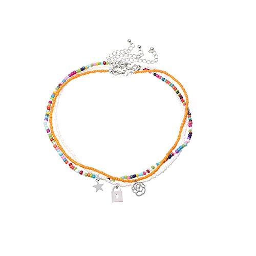 JOMYO Collares Mujer Verano, Collar Bolitas De Colores, Collar En Estilo Bohemio con Persianas Coloridas, Collar De Estrella De Flor Personalizada (Color : 2pcs)