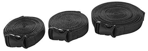 Walser 16472 Spanngurt Set für Autoplanen mit Schnappverschluss 3 Stück schwarz