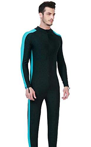 Wowdecor Surfer sur Internet Maillot de Bain pour Homme ou Femme d'une Seule pièce à Manches Longues Protection Solaire Rashguard Combinaison Aqua Bleu, Men, L(Height: 5'4'-5'6')