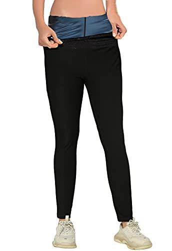 FITTOO Pantalones Sauna Reductora Adelgazante Deportivos Mujer Yoga Alta Cintura para Fitness Azul 2XL