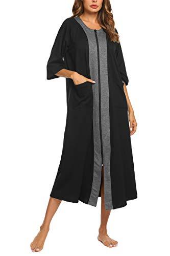 Ekouaer Women's Nightwear Robe Long Sleeve Sleepwear With Pockets Cotton Zipper Bathrobe Loungewear (Black,XL)