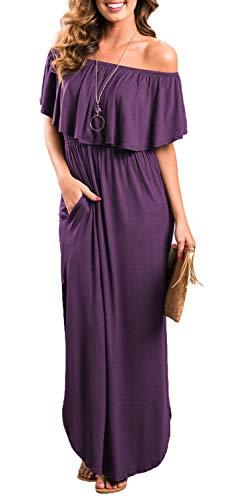 Womens Off The Shoulder Ruffle Party Dresses Side Split Beach Maxi Dress Purple L