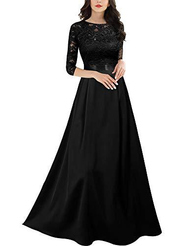 MIUSOL Damen 3/4 Ärmel Rundhals glatter Stoff Abendkleid Langes Kleid Schwarz M