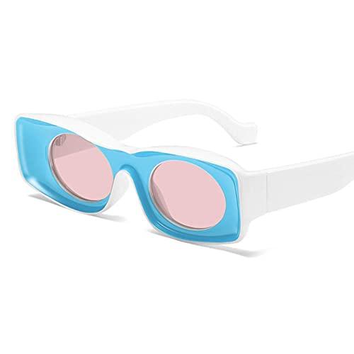 UKKD Gafas De Sol Mujeres Gafas De Sol Punk Square Gafas De Sol Vintage Vintage Mujeres Marca Gafas Mujeres Moda-Blue Pink