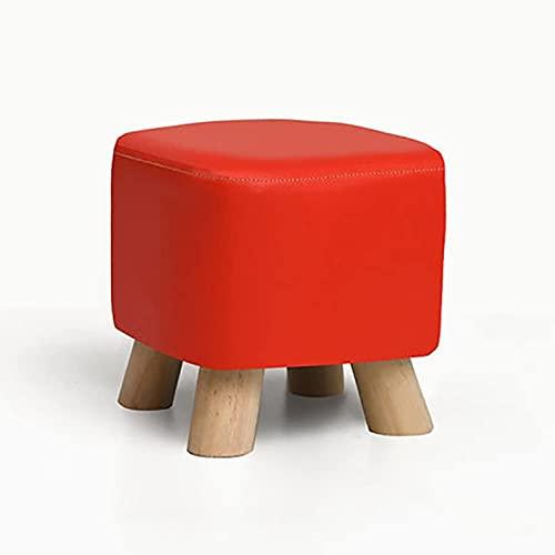 JYHQ Taburete cuadrado de madera maciza, taburete otomano para silla, funda de piel sintética y 4 patas sofá hogar taburete bajo rojo L28xW28xH25cm