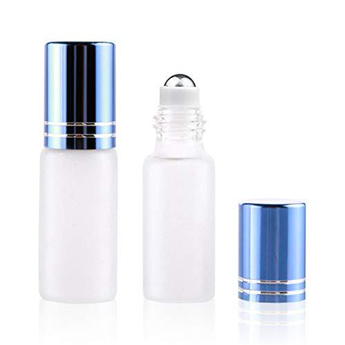 Yinyinpu Roll on Flacon Parfum Vide Roller Bouteilles Vide Rouleau Bouteille Bouteilles D'huile Essentielle pour Voyage et La Maison Blue