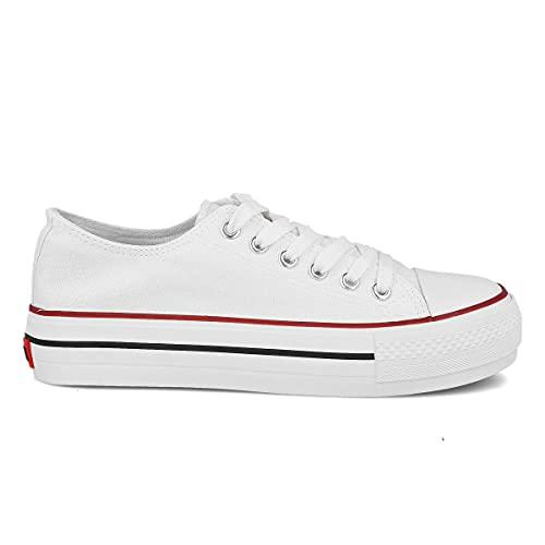 PAYMA - Zapatillas Bambas Botas de Lona Mujer. Puntera de Goma. Playeras de Deporte Casual y Caminar. Color: Blanco Bajas Piso Doble. Talla 38