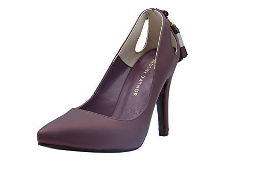JUMEIRA Zapato de Fiesta para Dama Color Vino de Material sintético lacio Talla 23.5